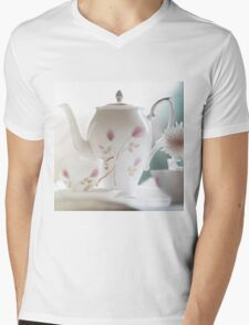 Hand painted china teapot, cup and saucer, with a flower. Mens V-Neck T-Shirt