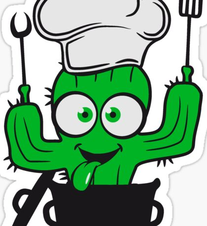 comic cactus saucepan soft cook restaurant chef hat pancake fork grill fry chef delicious food kitchen Sticker