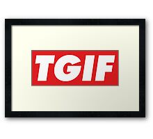 Thanks God It's Friday (TGIF), Obey poster style Framed Print