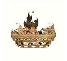 Golden Fractal Fantasy Castle Art Print