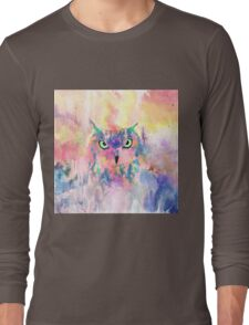 Watercolor eagle owl abstract paint Long Sleeve T-Shirt