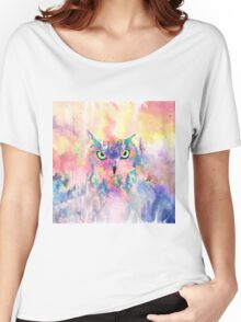 Watercolor eagle owl abstract paint Women's Relaxed Fit T-Shirt
