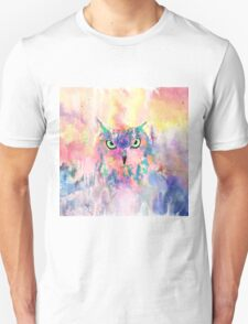 Watercolor eagle owl abstract paint Unisex T-Shirt