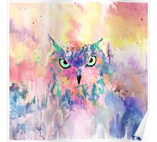 Watercolor eagle owl abstract paint Poster