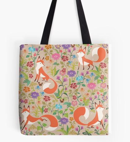 Flower Foxes Tote Bag
