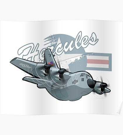 Cartoon Military Cargo Plane Poster
