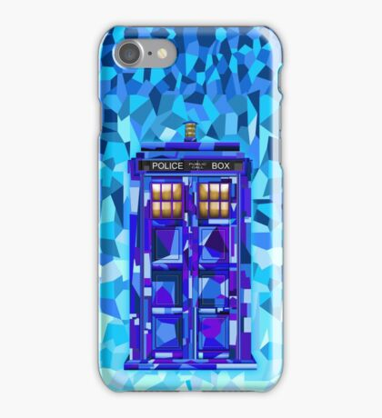 British blue phone booth cubic art iPhone Case/Skin