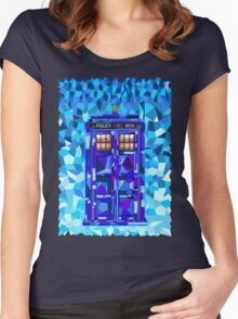 British blue phone booth cubic art Women's Fitted Scoop T-Shirt