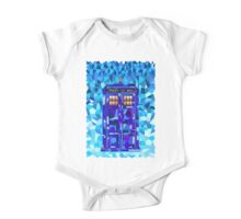 British blue phone booth cubic art One Piece - Short Sleeve
