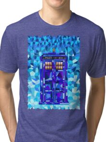 British blue phone booth cubic art Tri-blend T-Shirt