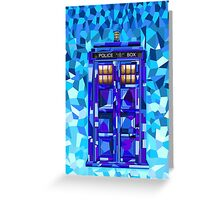 British blue phone booth cubic art Greeting Card