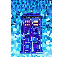 British blue phone booth cubic art Photographic Print