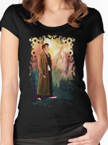 Time Traveller with abstract background art painting Women's Fitted Scoop T-Shirt