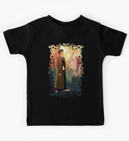 Time Traveller with abstract background art painting Kids Tee