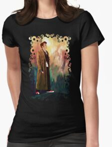 Time Traveller with abstract background art painting Womens Fitted T-Shirt