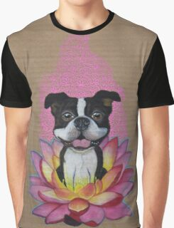 Zen Boston Terrier - Lotus Flower Graphic T-Shirt