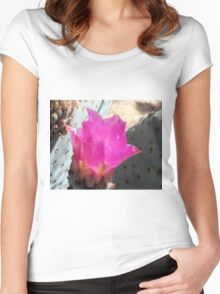 Pink Cactus Flower Up Close Women's Fitted Scoop T-Shirt