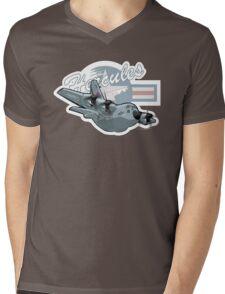 Cartoon Military Cargo Plane Mens V-Neck T-Shirt