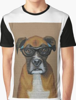 Hipster Boxer Dog Graphic T-Shirt