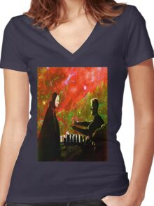 Playing chess with Death Women's Fitted V-Neck T-Shirt