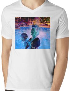 Electric Swimmer Mens V-Neck T-Shirt