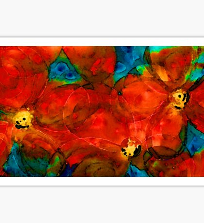 Garden Spirits - Vibrant Red Flowers By Sharon Cummings Sticker