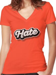 HATE Women's Fitted V-Neck T-Shirt