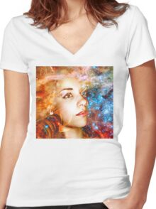 Journey to the Stars Women's Fitted V-Neck T-Shirt