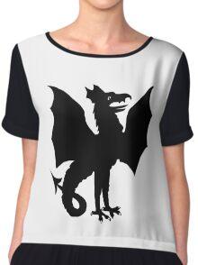 Winged Dragon silhouette Chiffon Top