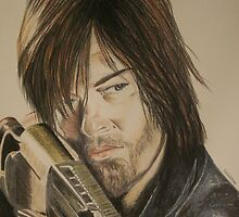 Daryl Dixon TWD in Derwent pencils by Sharyn Kimpton