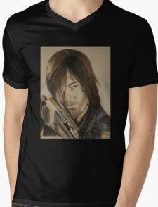 Daryl Dixon TWD in Derwent pencils Mens V-Neck T-Shirt