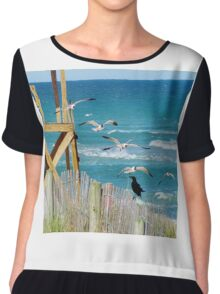 Black Bird And Seagulls Chiffon Top