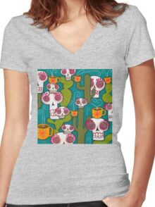 Skulls, Cacti and Atomic Coffee Women's Fitted V-Neck T-Shirt