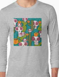 Skulls, Cacti and Atomic Coffee Long Sleeve T-Shirt