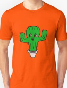 flowerpot sweet cute little cactus face comic cartoon baby child Unisex T-Shirt