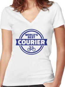World's best bike courier Women's Fitted V-Neck T-Shirt