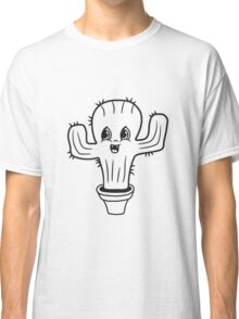 flowerpot sweet cute little cactus face comic cartoon baby child Classic T-Shirt