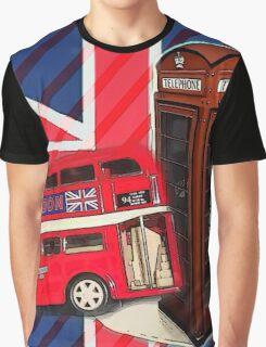 union jack london bus vintage red telephone booth Graphic T-Shirt