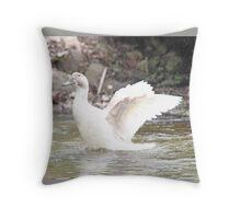 White Female Duck Throw Pillow