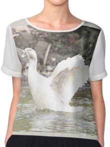 White Female Duck Women's Chiffon Top