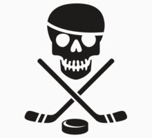 Ice Pirate Hockey Logo - Black on White Kids Tee