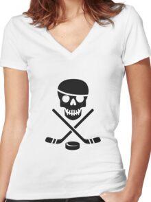 Ice Pirate Hockey Logo - Black on White Women's Fitted V-Neck T-Shirt