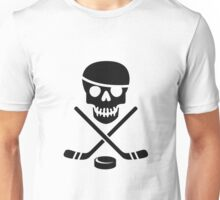 Ice Pirate Hockey Logo - Black on White Unisex T-Shirt