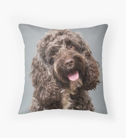 Brown cockapoo Throw Pillow