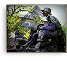 American flag and World War 2 monument Canvas Print