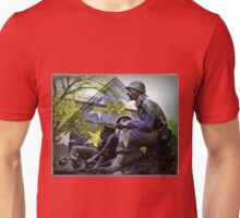 American flag and World War 2 monument Unisex T-Shirt