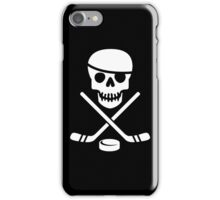 Cool Ice Hockey Pirate Logo - White on Black iPhone Case/Skin