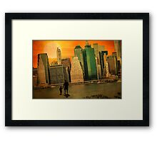 Father and son holding hands watching sunset over the shadows of Manhattan Framed Print