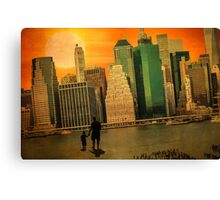 Father and son holding hands watching sunset over the shadows of Manhattan Canvas Print