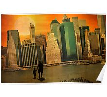 Father and son holding hands watching sunset over the shadows of Manhattan Poster